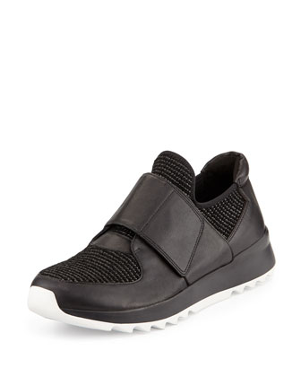 Wing Grip-Strap Leather Sneaker, Black