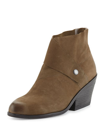 Tag Wrap-Snap Leather Bootie, Dark Olive