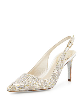 Crystal-Embellished Slingback Pump, Multi