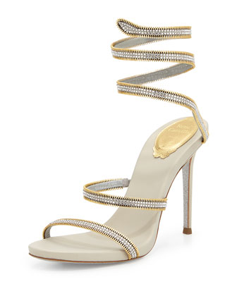 Crystal Snake-Coil Evening Sandal, Silver