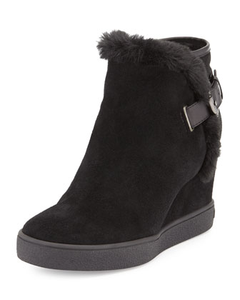 Cameron Faux-Fur-Trimmed Suede Wedge Bootie, Black