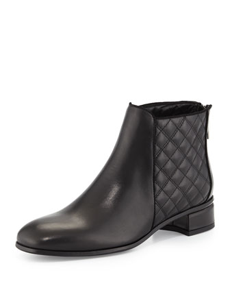 Lacey Quilted Leather Bootie, Black