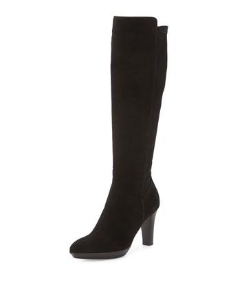 Raine Stretch-Suede Knee Boot, Black