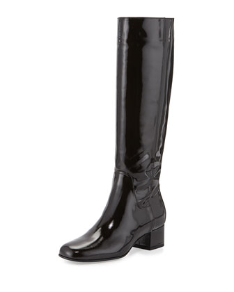 Larkin Crosshatch Patent Knee Boot, Black