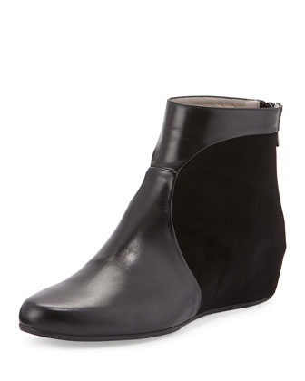 Una Leather & Suede Wedge Bootie