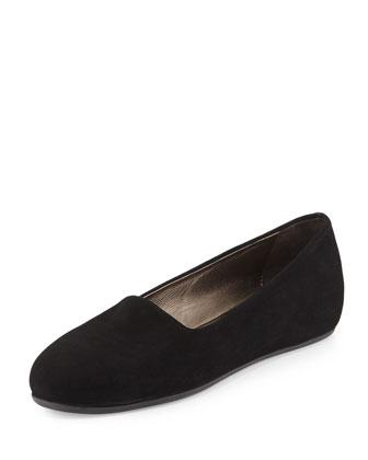 Eleanor Stretch-Suede Flat, Black