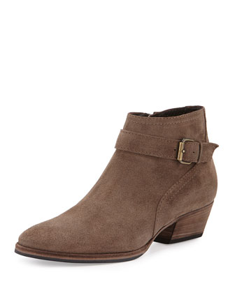 Fanny Stretch-Suede Bootie, Taupe