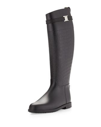 Miranda Croc-Embossed Rain Boot, Black