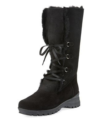Annabella Shearling Fur-Lined Boot, Black