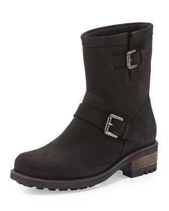 Charlotte Nubuck Moto Boot, Black