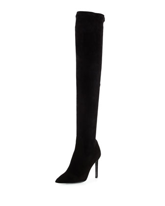 Besot Stretch-Suede Over-the-Knee Boot, Black