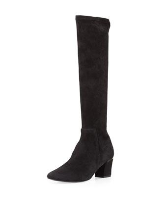 Cyera Stretch-Suede Knee Boot, Black