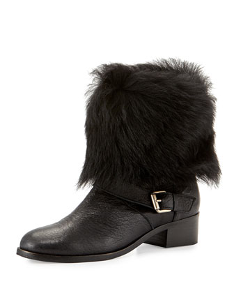 Minka Fur-Cuff Moto Boot, Black