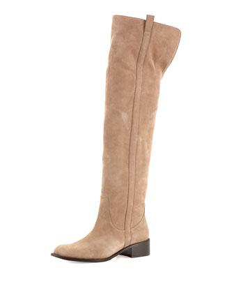 Sofie Suede Over-the-Knee Boot, Light Mink