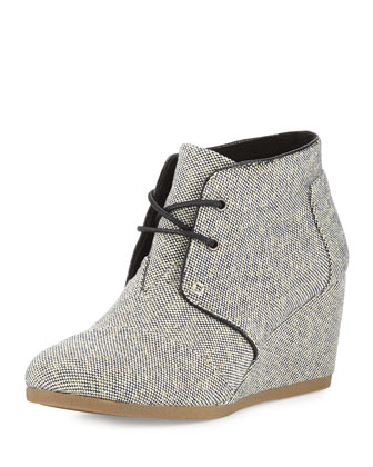 Metallic Linen Desert Wedge Boot, Black/Gold