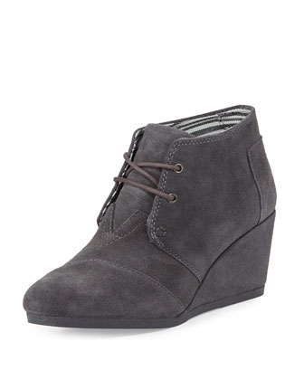 Suede Desert Wedge Bootie, Dark Gray