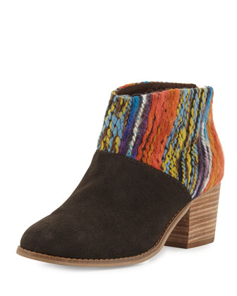 Leila Suede & Yarn Bootie, Chocolate