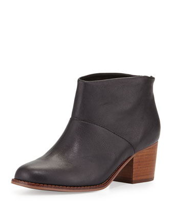 Leila Leather Block-Heel Bootie, Black