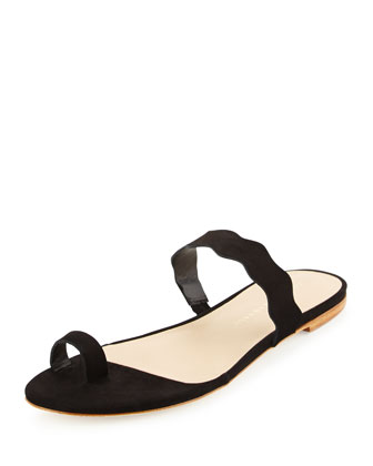 Petal Wavy-Strap Flat Slide Sandal, Black