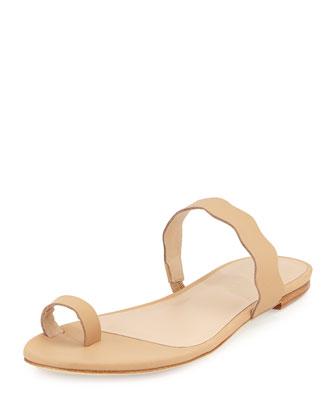 Petal Wavy-Strap Flat Slide Sandal, Nude