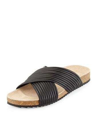 Petra Piped Leather Sport Slide Sandal, Black