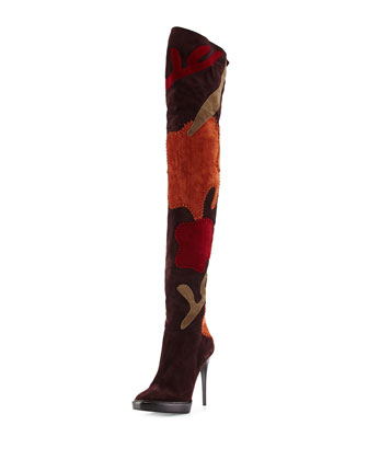 Allison Patchwork Over-the-Knee Boot, Oxblood