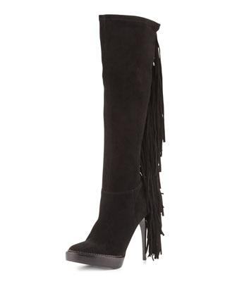 Caitlin Suede Fringe Knee Boot, Black