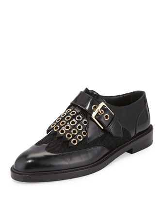 Saltergate Studded Calf-Hair Loafer, Black