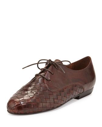 Naxos Woven Leather Oxford, Dark Tan