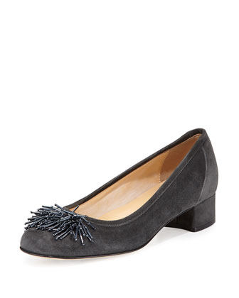 Flynn Beaded Fringe Pump, Dark Gray