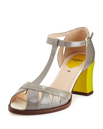 Chameleon Patent T-Strap 65mm Sandal, Ash/Pistachio/Snow