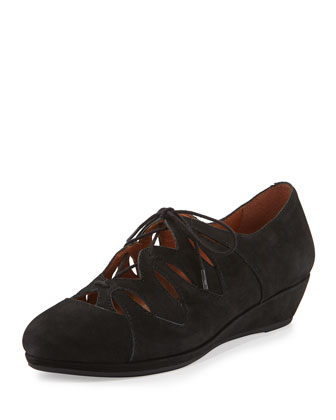 Nye Nubuck Lace-Up Wedge, Black