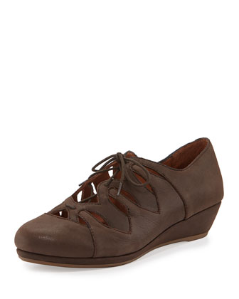 Nye Nubuck Lace-Up Wedge, Chocolate