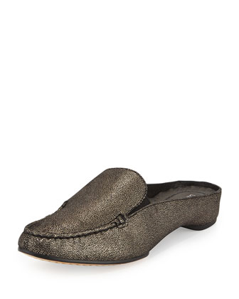 Breva Metallic Suede Mule, Black/Pewter