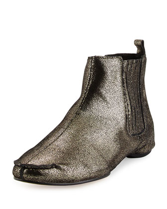 Belle Metallic Flat Ankle Boot, Black/Pewter