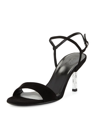 Adlena Suede Evening Sandal, Black