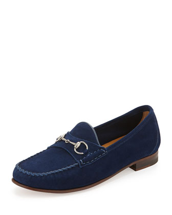 Suede Horsebit Slip-On Loafer, Cobalt