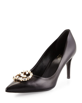 Embellished-GG Leather Pump, Black