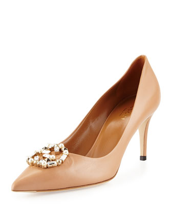 Embellished-GG Leather Pump, Camel