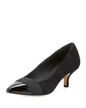 Gia Suede Bow Pump, Black