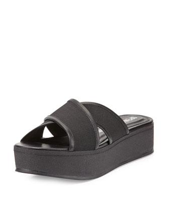 Crisscross Platform Sandal, Black