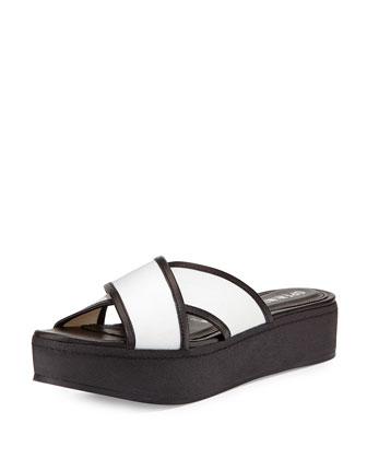 Crisscross Platform Sandal, White
