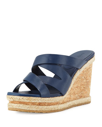Prisma 100mm Vachetta Wedge Sandal, Navy