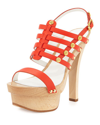 Studded Leather Slingback Sandal, Orange/Golden