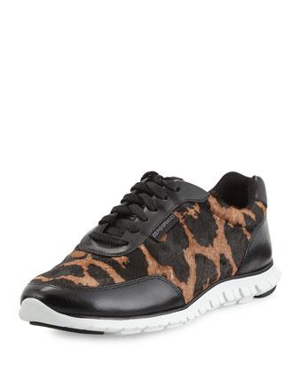 Zerogrand Calf-Hair Sneaker, Ocelot