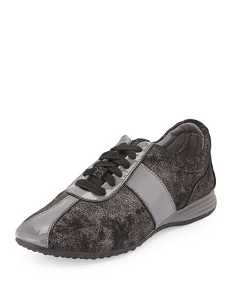 Bria GRAND/OS Leather Sneaker, Dark Silver