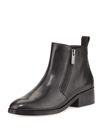 Oak Side-Zip Leather Bootie, Black