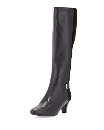 Sylvan Leather & Suede Knee Boot, Black