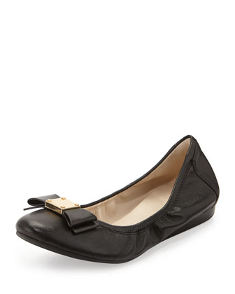 Tali Leather Bow Ballet Flat, Black