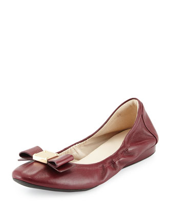 Tali Leather Bow Ballet Flat, Zinfandel